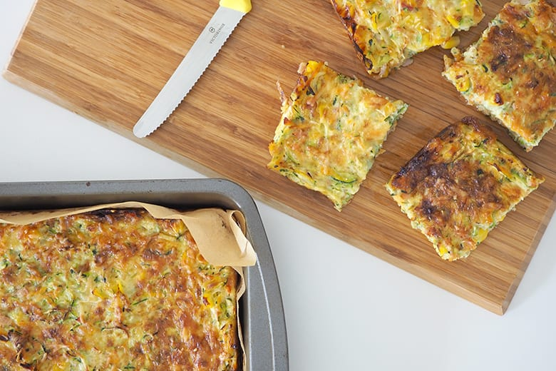 Zucchini and vegetable slice recipe for meal planning and school lunch boxes