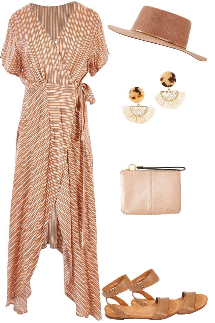 Natural neutral dress and shoes for womens Christmas outfit idea