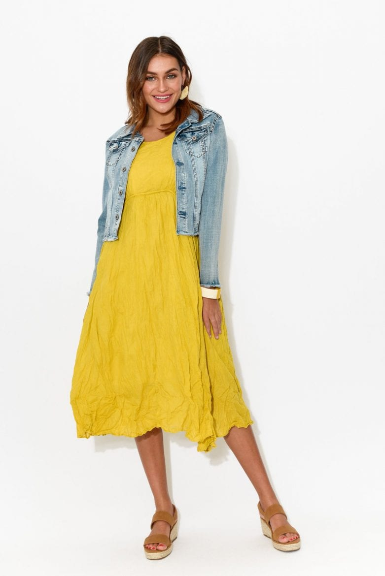 Bright yellow playful Christmas dress outfit for women