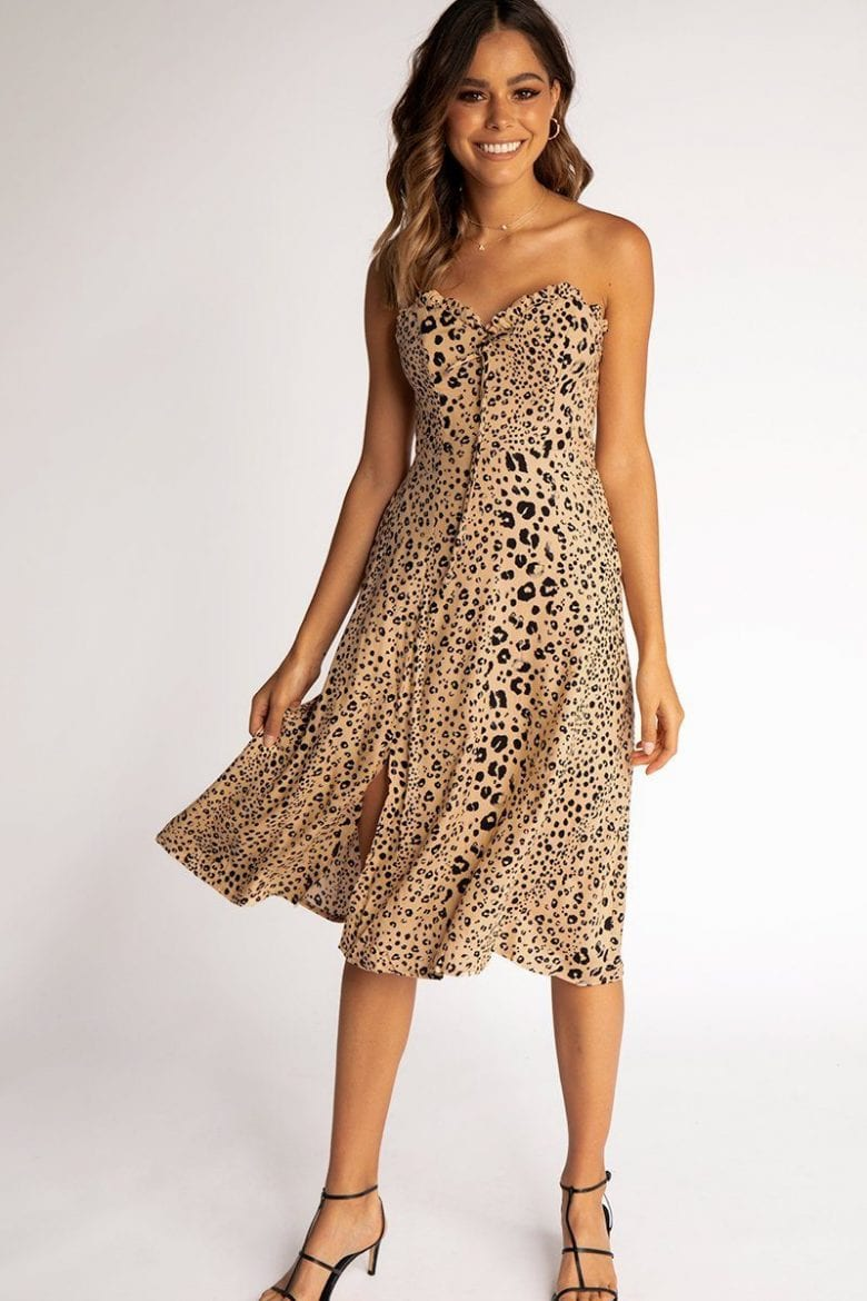 strapless leopard print dress for end of year party