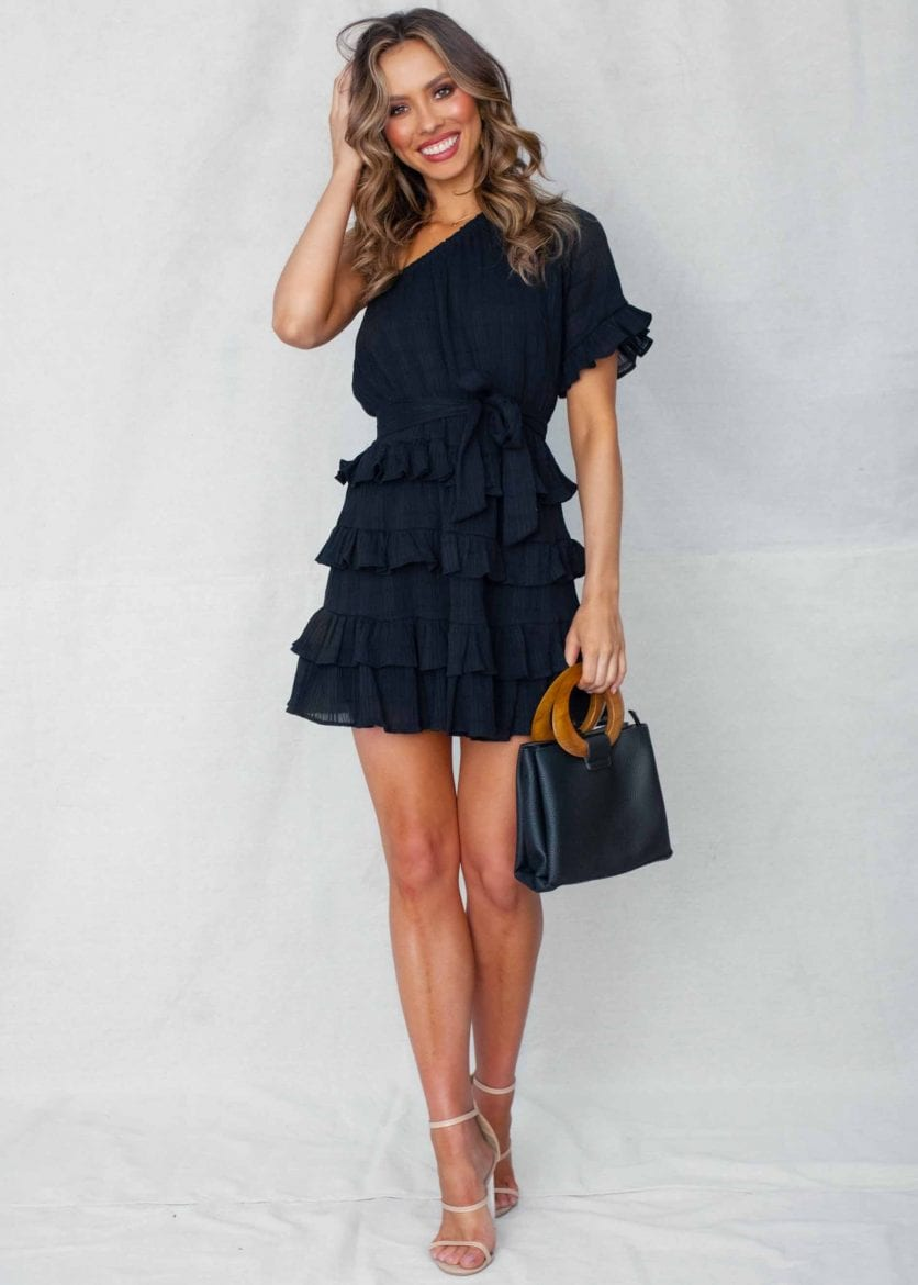 Perfect little black frill dress for Christmas party