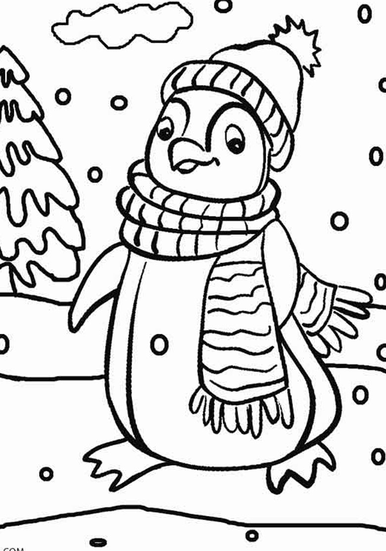 Christmas Penguin Colouring In Page