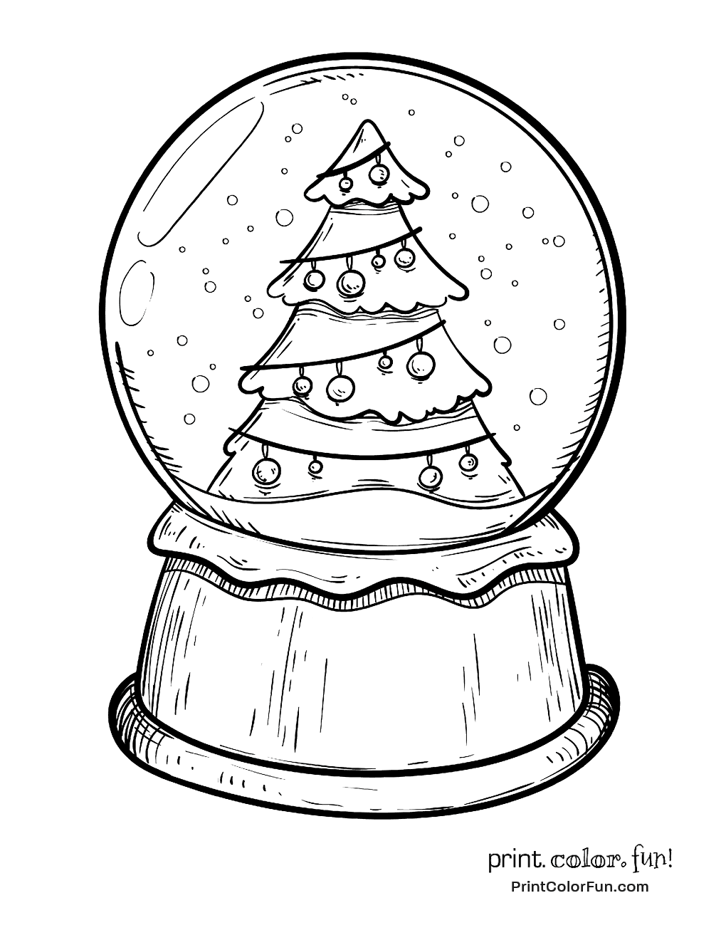 Christmas tree snow dome colouring in page for children