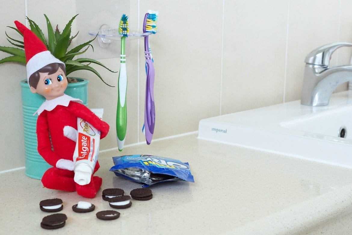 Elf on the Shelf toothpaste oreo