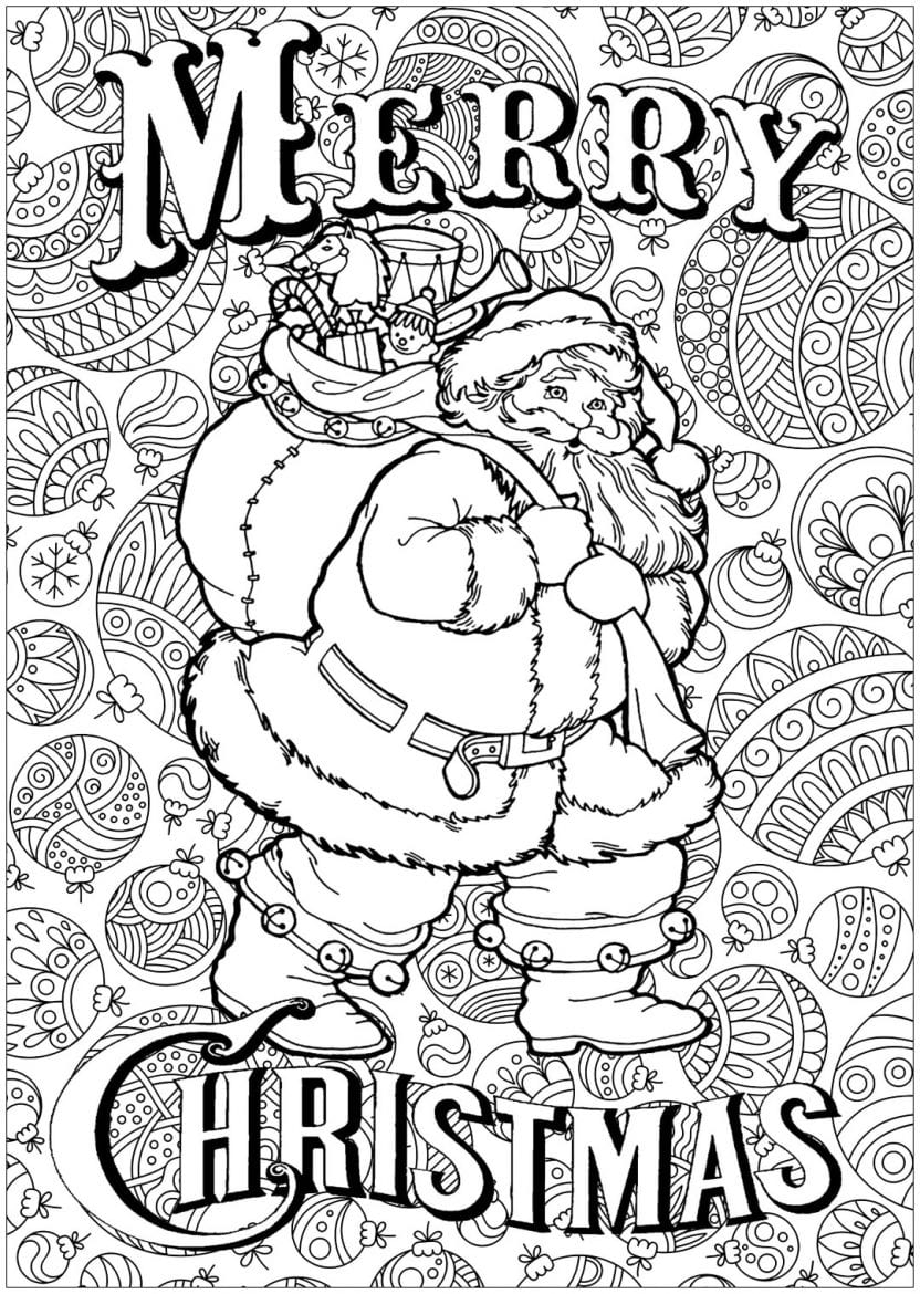 Merry Christmas colouring in page for kids at Christmas time