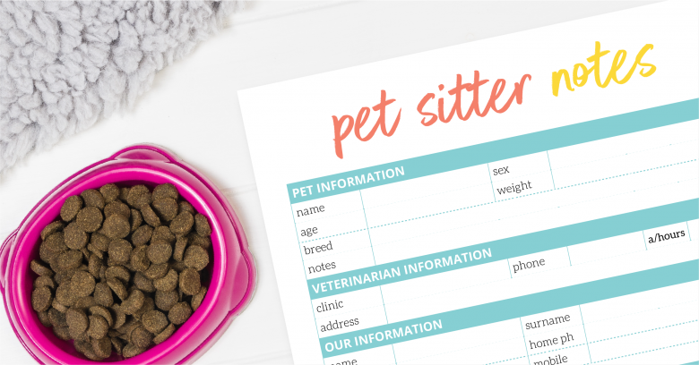 Pet sitter note printable by The Organised Housewife