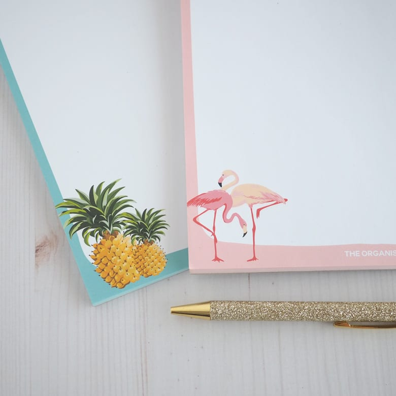Flamingo and pineapple notepad