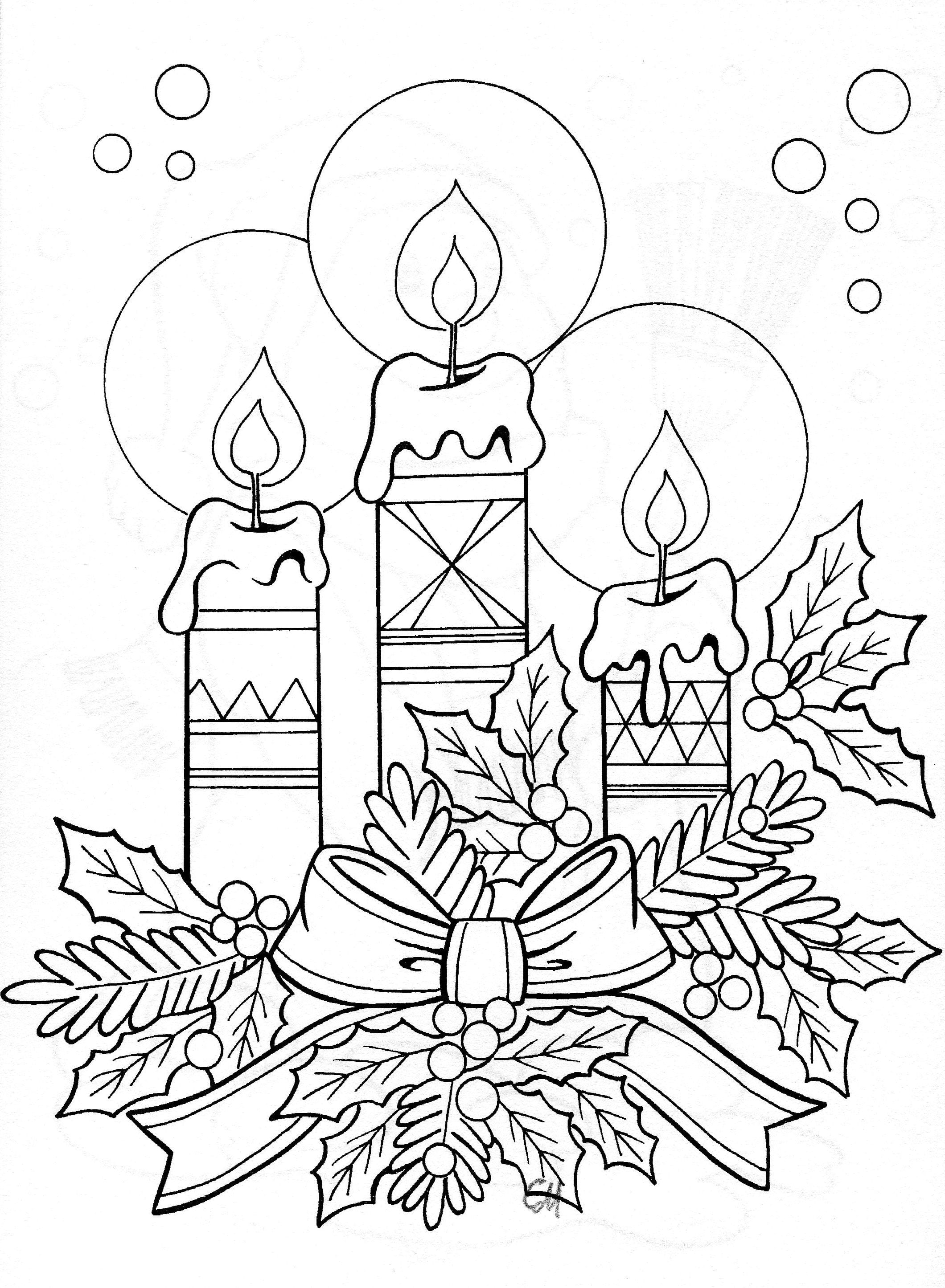 Christmas candles colouring in page