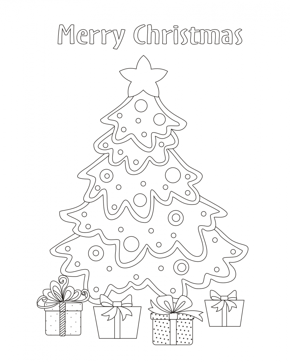 Merry Christmas tree colouring in page for children