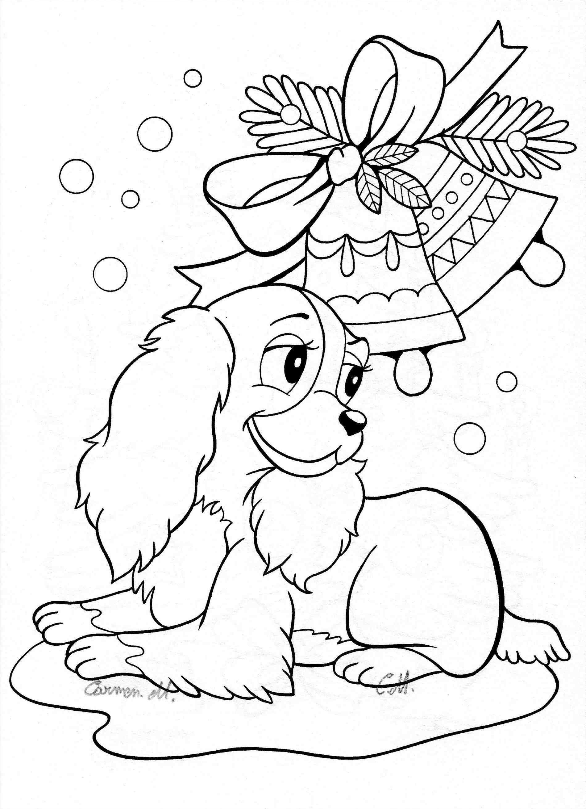 Christmas colouring in page of cute puppy dog