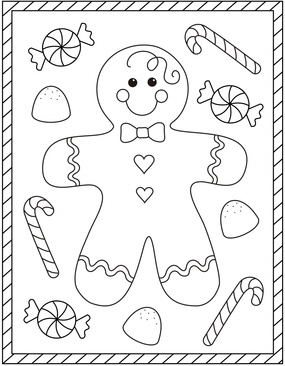 Snowman with Candy Cane coloring page | Free Printable Coloring Pages | 1170x911