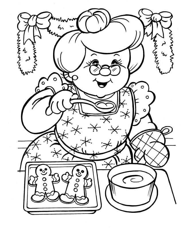 Mrs Claus Christmas colouring in page for kids