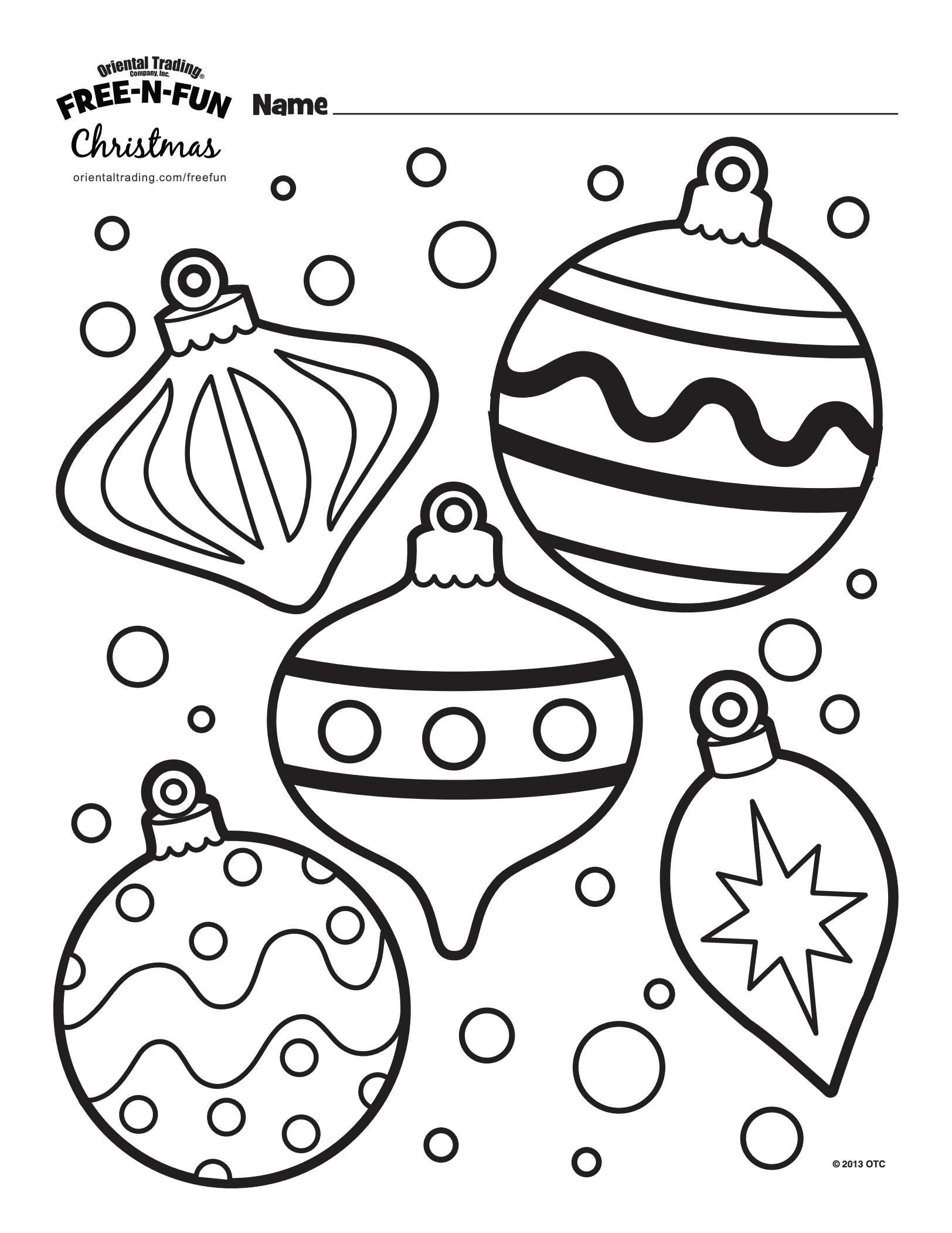 Christmas ornaments colour page template for kids