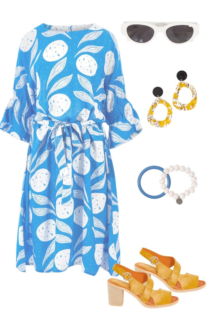 Blue lemon dress with yellow accessories party outfit