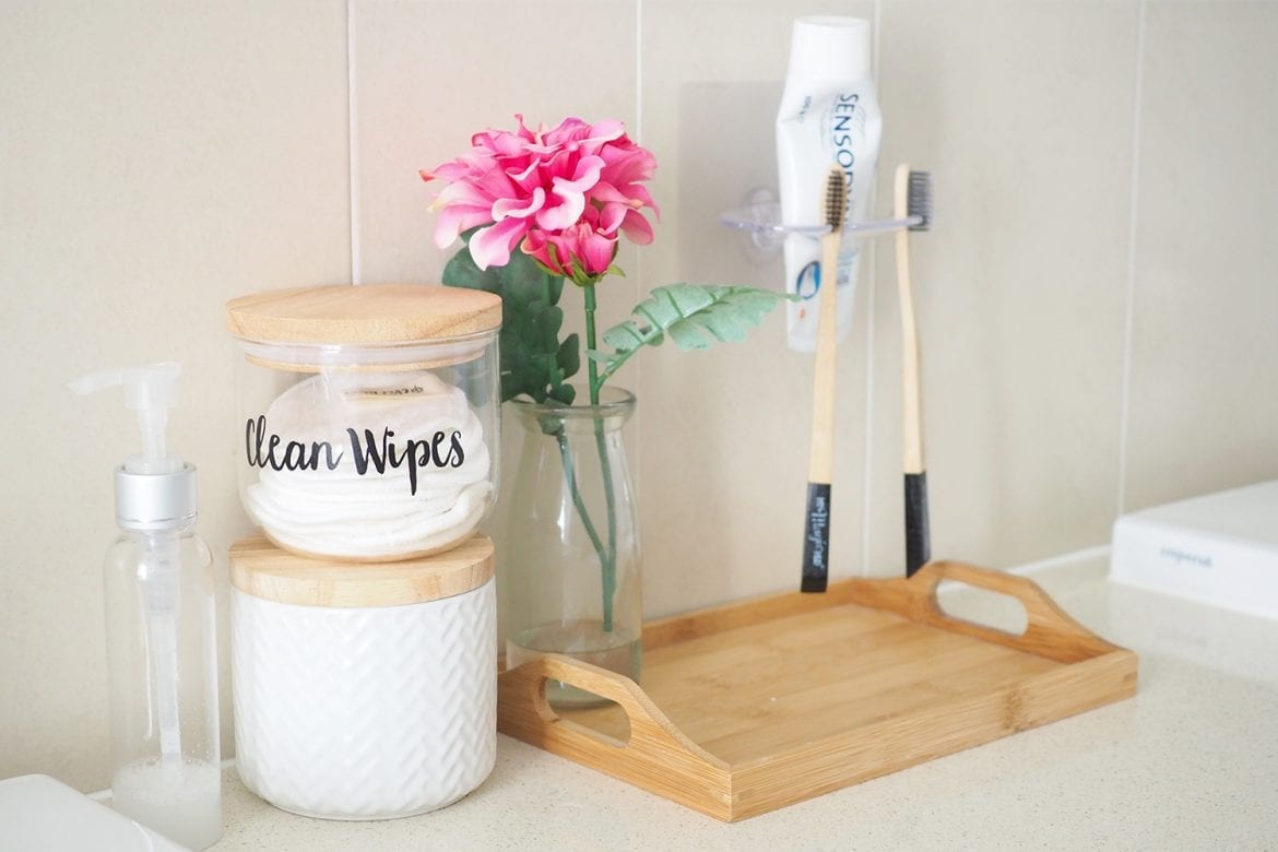 Products to keep bathroom bench tidy and clutter free