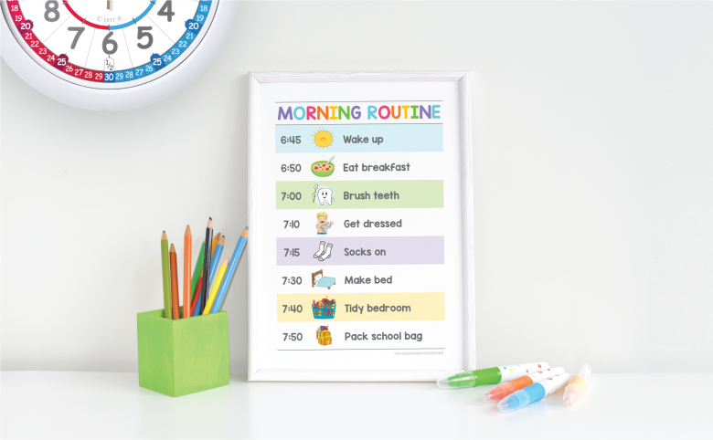 Personalised routine chart for school mornings