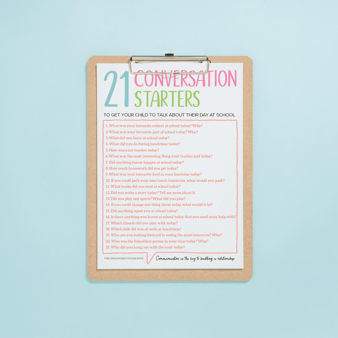 conversation starter printable to get your child to talk about their day