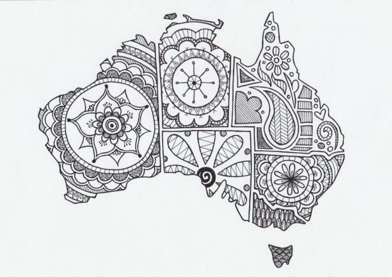 Australia Day Map colouring in page for kids