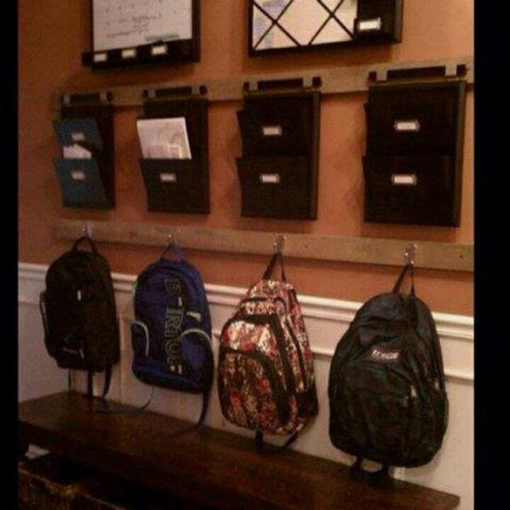 Clutter free tidy school bag station