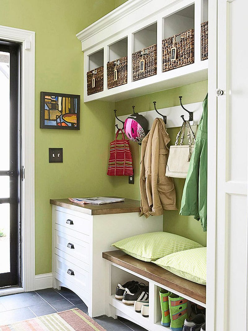 school nook for bags and uniform