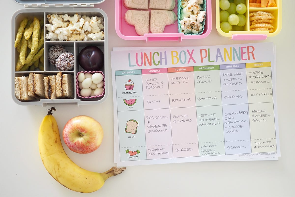 Lunch box planner pad for organising school lunches