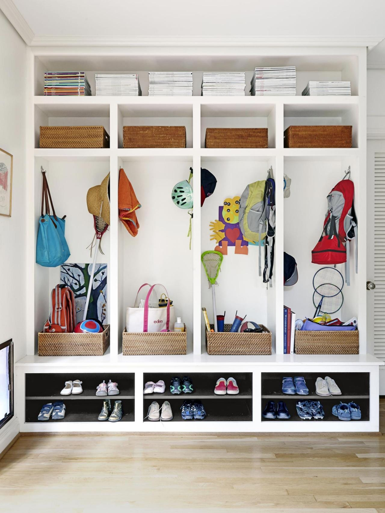 bright clean school bag nook for kids