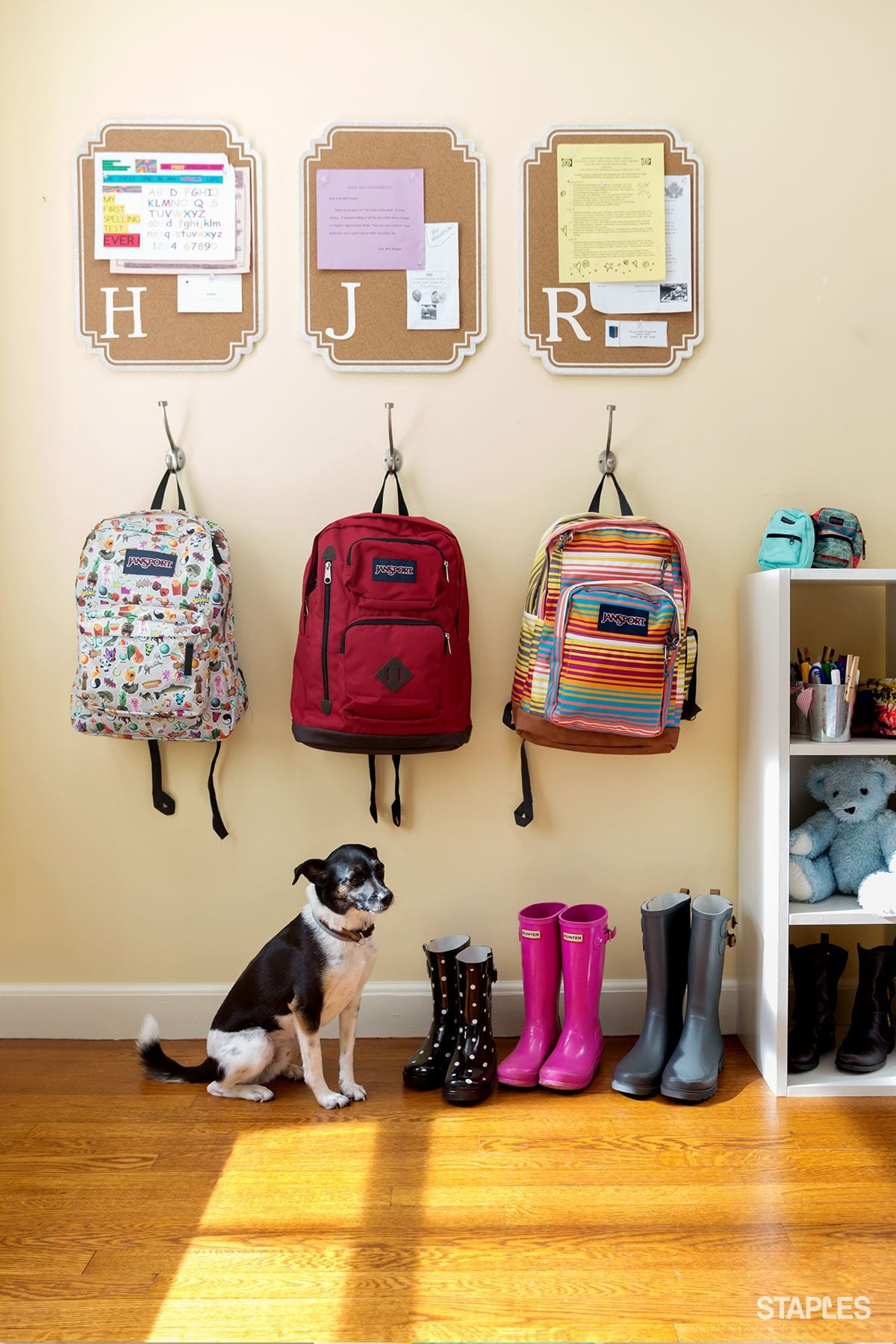 bright and colourful school bag storage space
