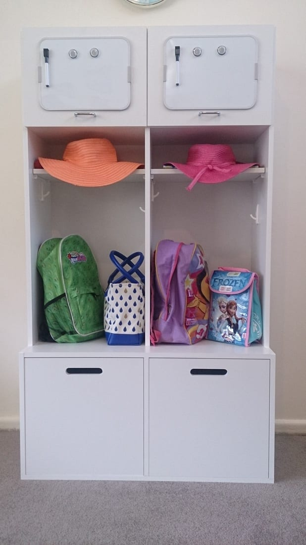 school locker space at home for school bags