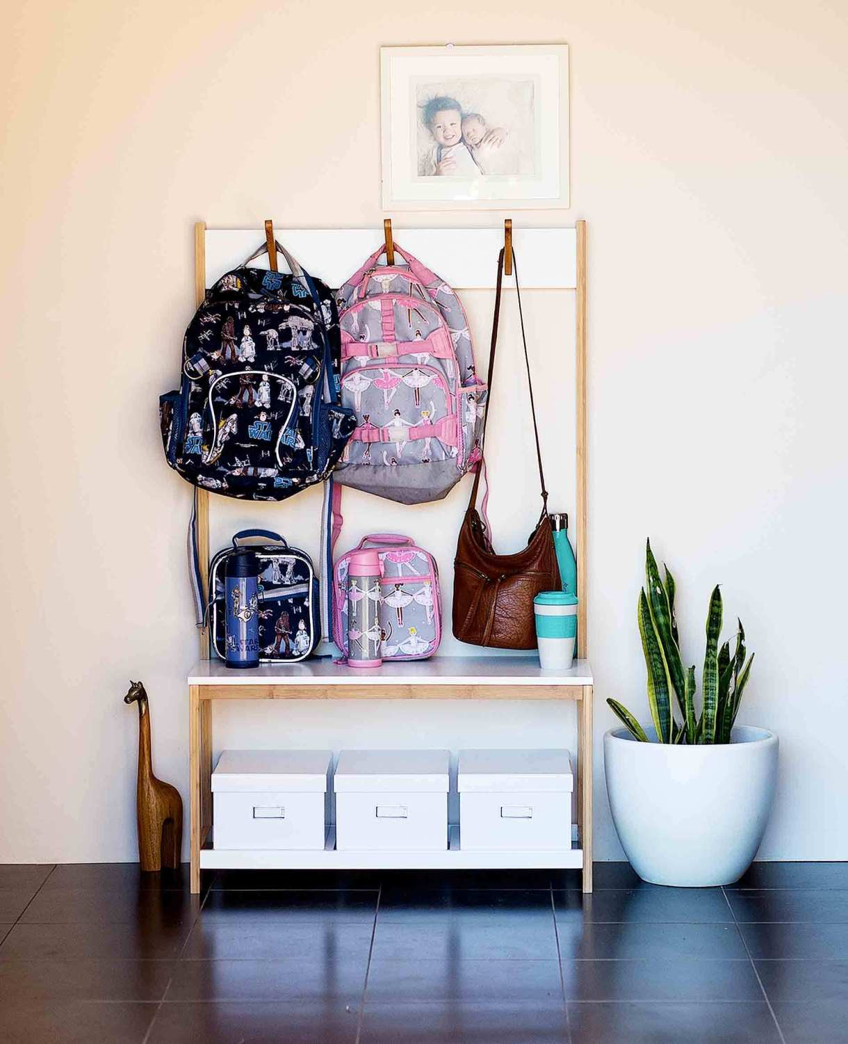 Beautiful home storage space for bags and lunch boxes