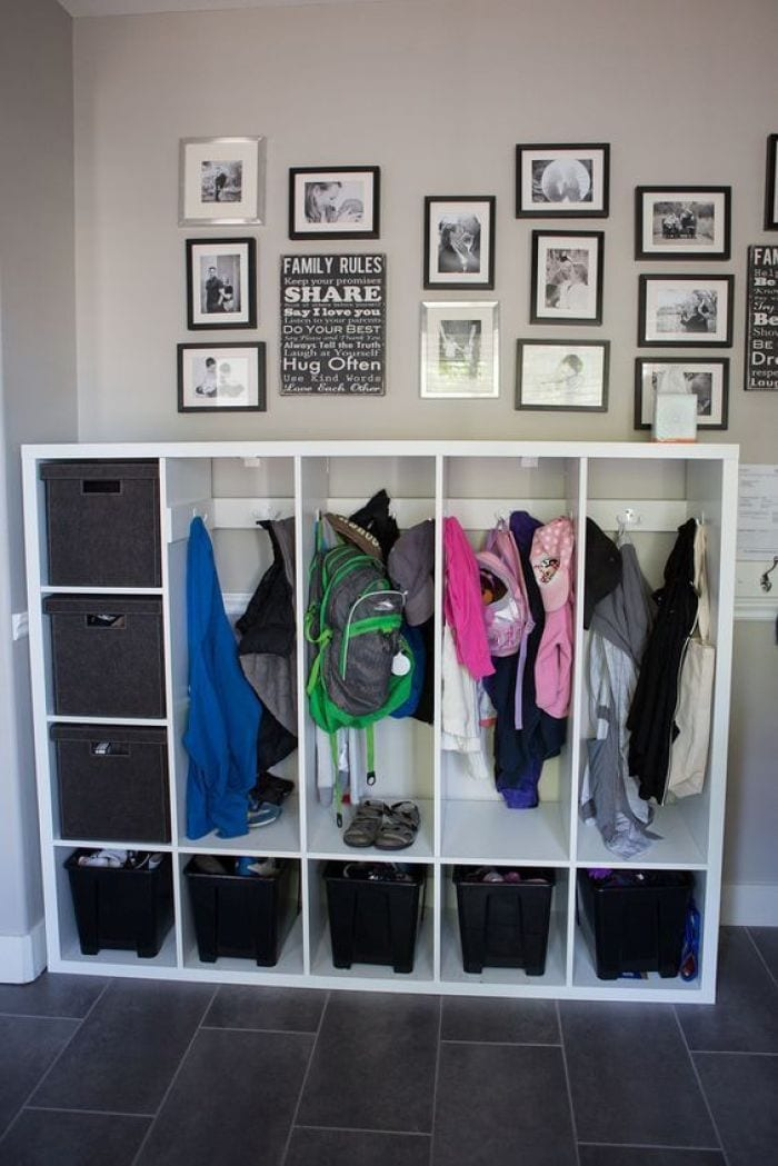school clothes uniforms and bags storage space