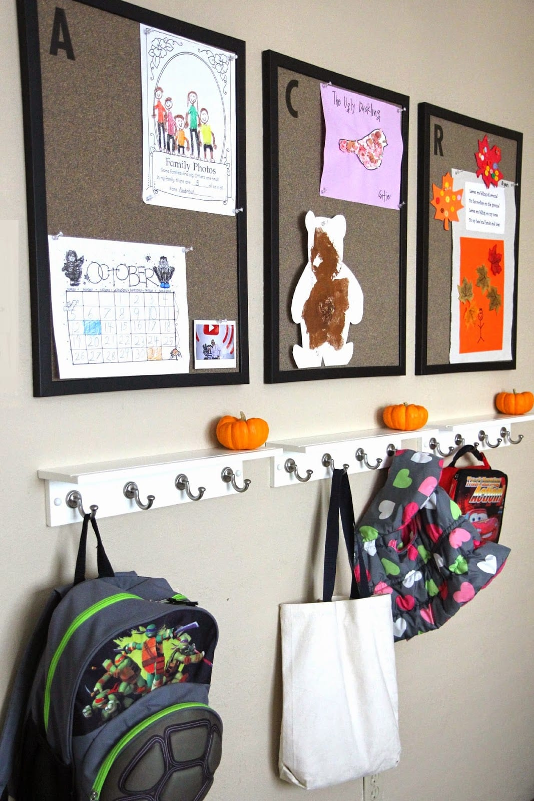 school artwork and bags storage idea