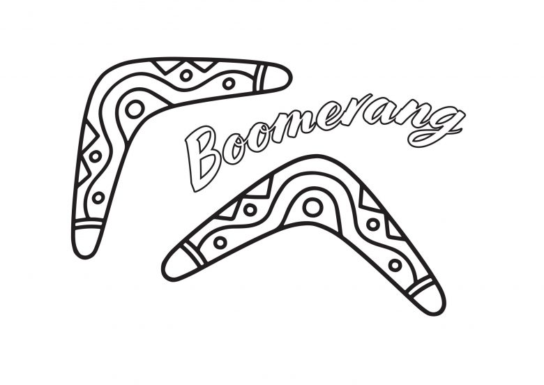Boomerang colouring page for Australia Day