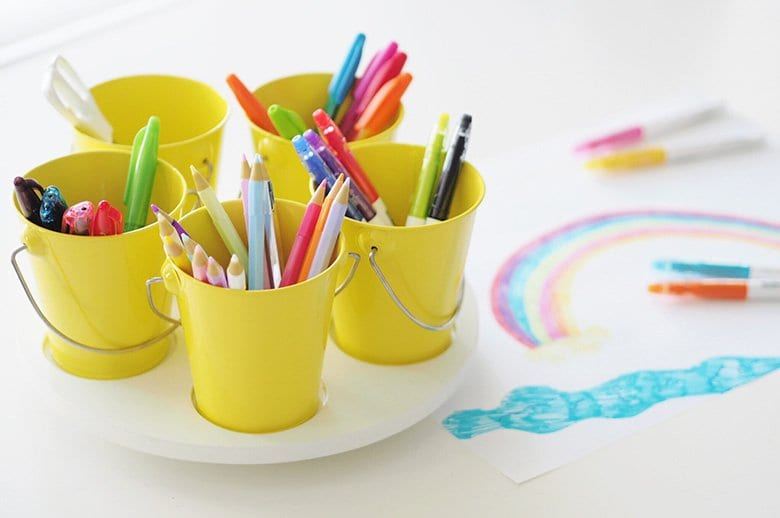 kids storage area craft turntable