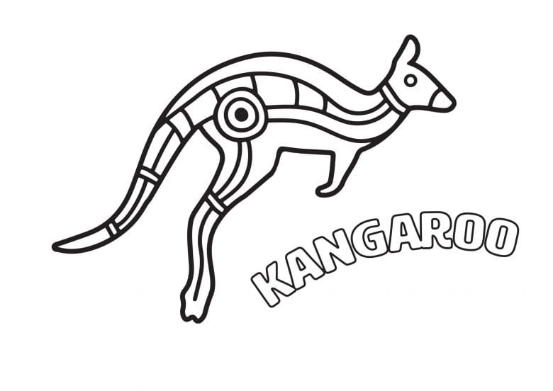Kangaroo Aboriginal colouring in page