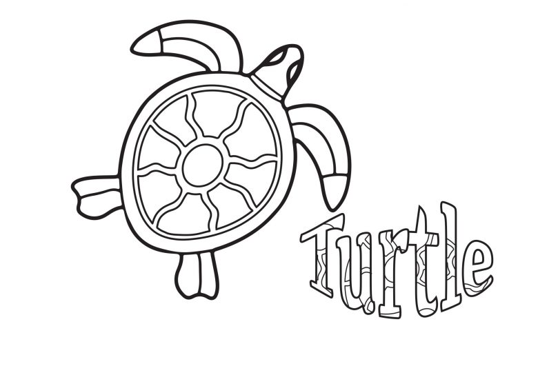 Turtle free colouring printable for kids
