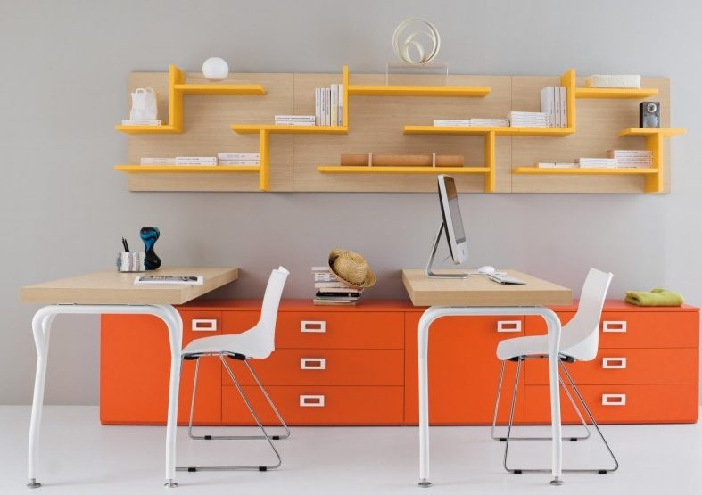 Orange feature shelves in home office