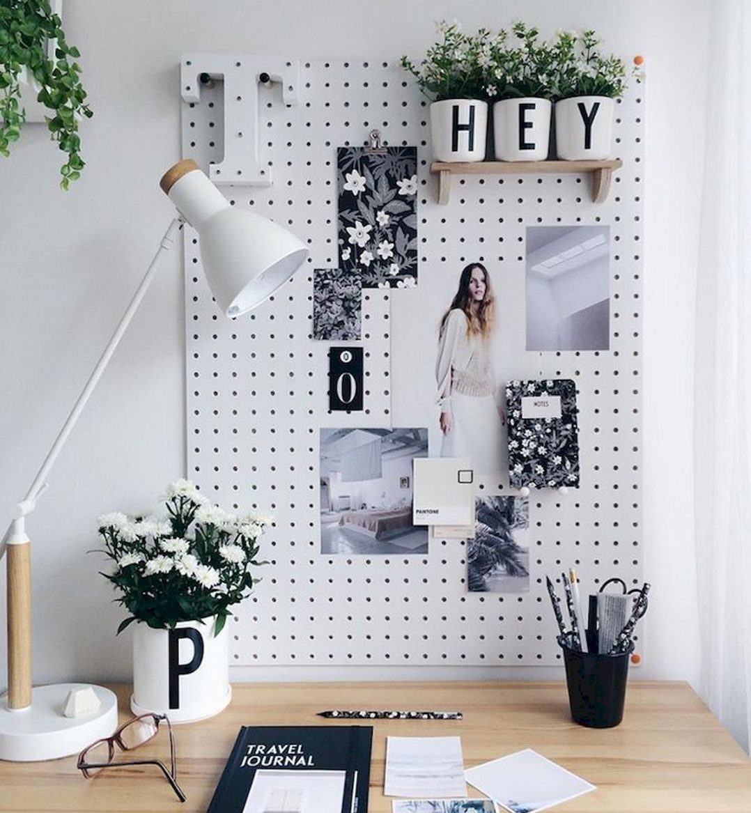 Fresh bright vision board for home office space