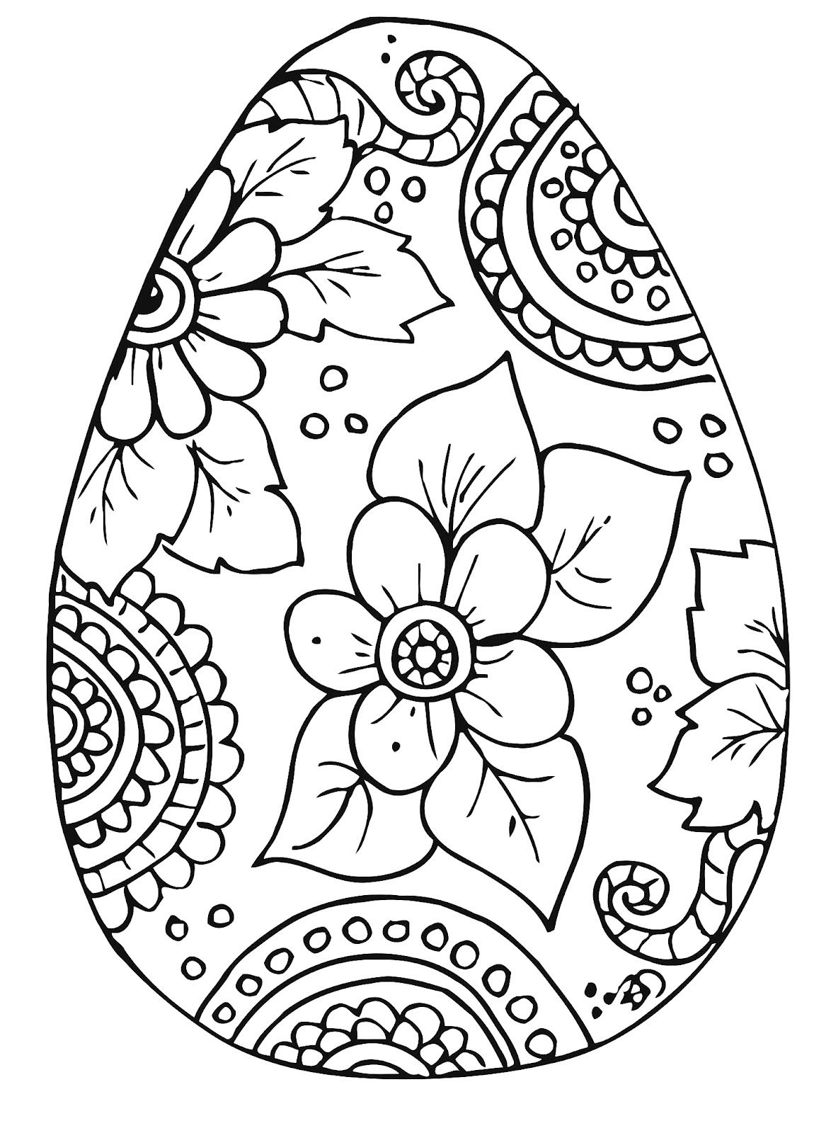 Easter egg colouring in page for parents
