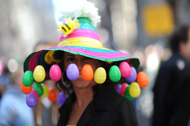 Easter bonnet parade big hat with colourful eggs