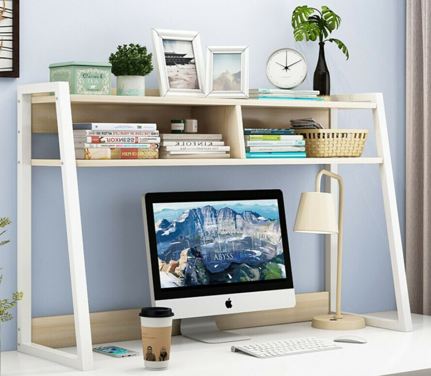 Above computer shelf storage idea