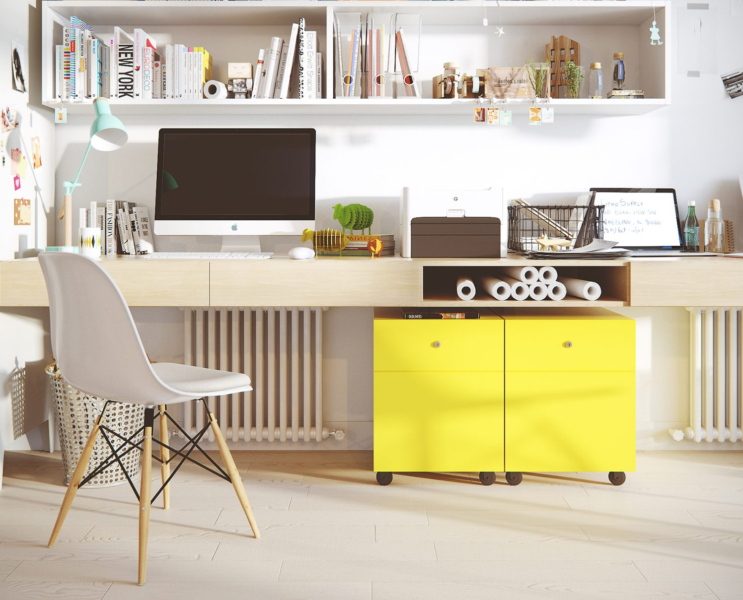 Bright yellow filing cabinets in home office