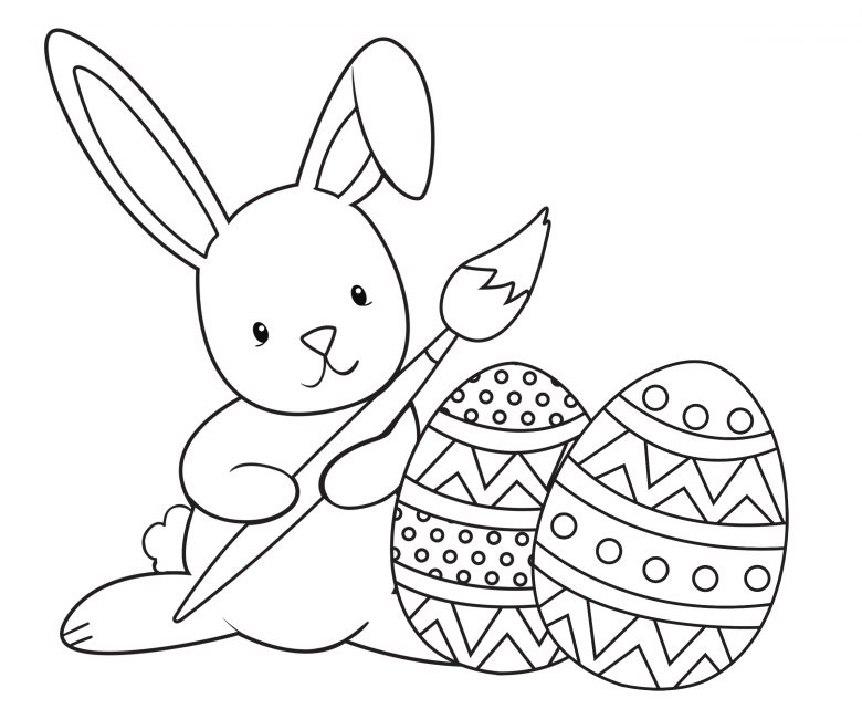 rabbit and eggs colouring page free printable