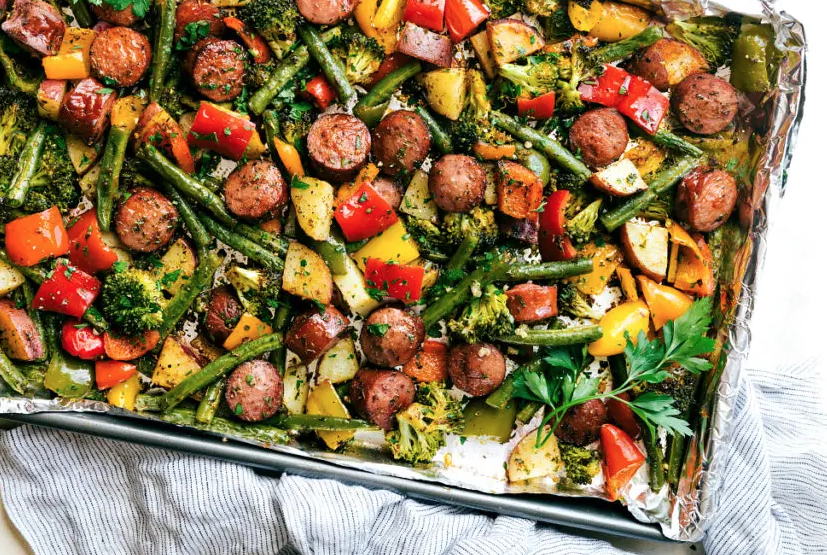 One pan healthy veggie sausages and veggies