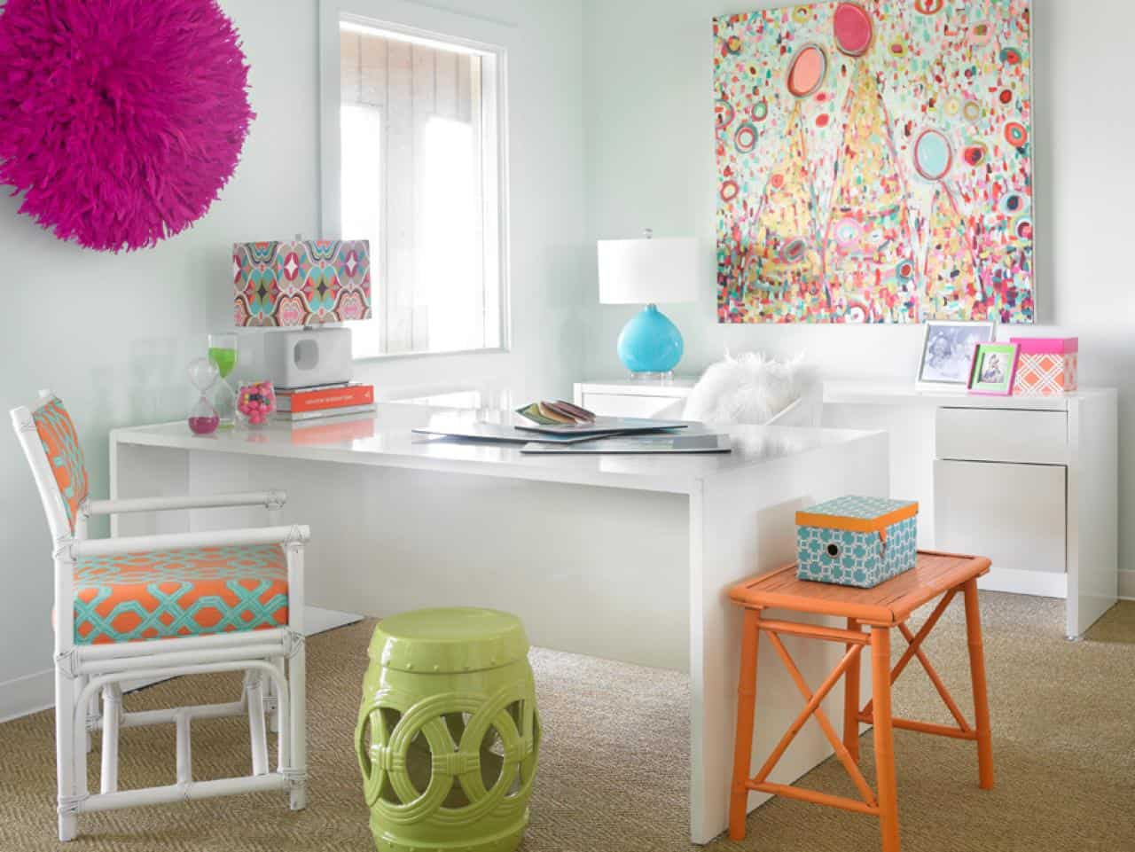 Colourful orange and teal home office
