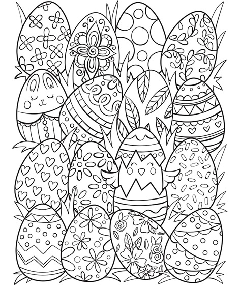 Free Easter egg colouring pages