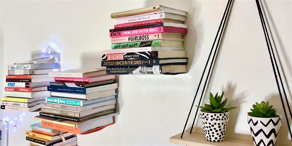 Floating invisible book shelf for home office
