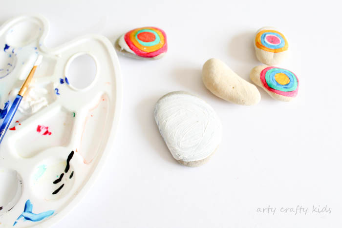 paint rocks and pebbles with the kids