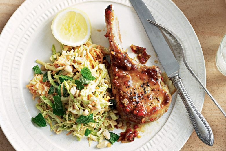 Pork chops with coleslaw recipe