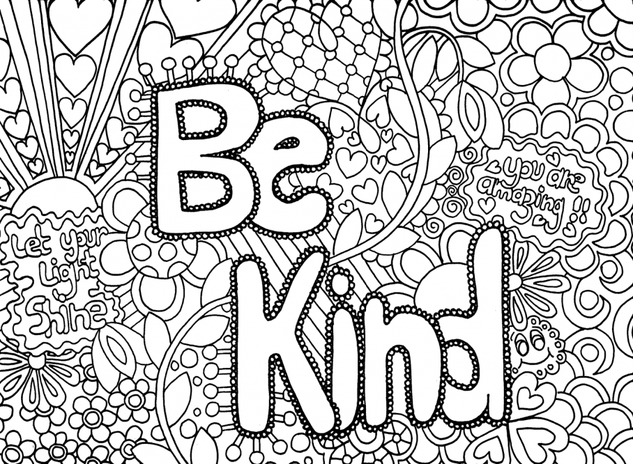 Be kind colouring in printable for teenagers