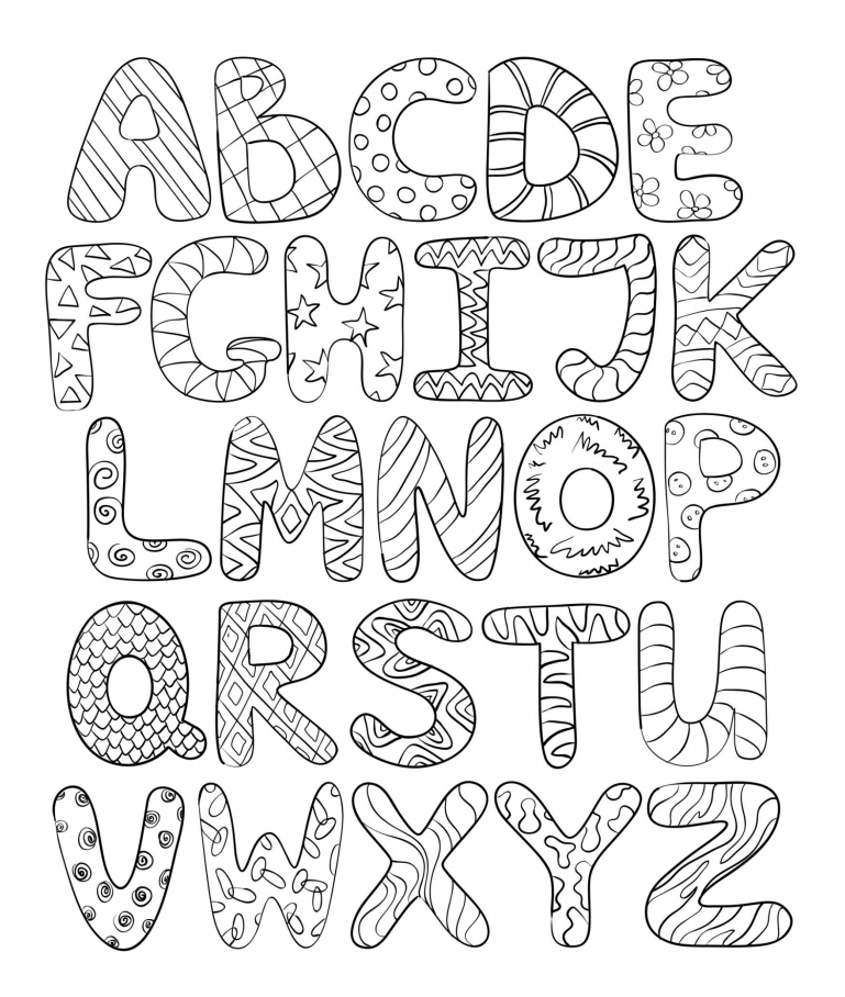 bubble writing colouring in page
